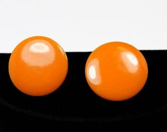 Classic Pumpkin Bakelite Button Earrings