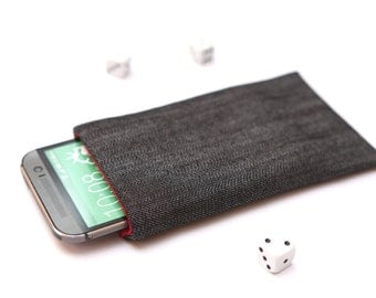 HTC 10, HTC One A9, M9, M8, M7 sleeve case pouch handmade dark jeans and red