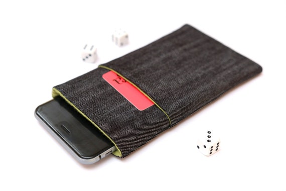 iPhone SE, iPhone 6s Plus, 6 Plus, iPhone 6s, 6, iPhone 5 sleeve case pouch handmade dark jeans and green with pocket