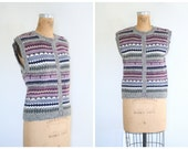 1980s fair isle ladies sweater vest - sleeveless button up / Tweedy Gray - winter preppy / 80s college style