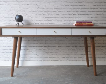 "Bloom Desk 60"" - Solid Cherry - Teak Stain - White Drawers"