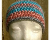 Cool Striped Beanie in gray, coral, and aqua