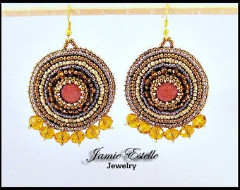 As Seen On Jane The Virgin, Sandstone Beaded Bronze and Gold Embroidered Earrings
