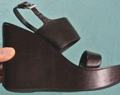 vintage women prada 70s dark brown leather platform double band chunky wegde heel slingback sandals (size 6 - 6.5)