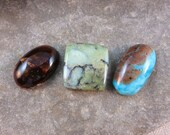 RESERVED for CASEY Cabochon Grouping of Three Stones Handmade by Ginny