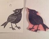 Cardinal Stamp .  Handmade rubber stamp.