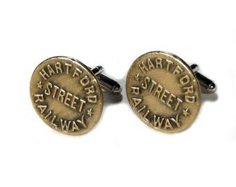 Steampunk Cufflinks Mens Vintage HARTFORD RAILROAD Stret Uniform Brass Engine Industrial RARE Birthday Fathers Day Gift - Steampunk Boutique