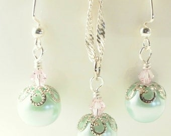 Mint Green Pearl Earrings - Mint Green Pearl Necklace - Pink and Green Earrings - Pink and Green Necklace - Pearl and Crystal Jewelry Set