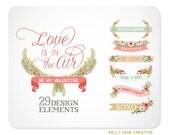 Valentine Laurels, Banners, & Florals Clip Art - Blog Graphics - Instant Download