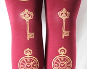 S M Clock and Key Tights Small Medium Gold on Burgundy Oxblood Bordeaux Red Printed Victorian Lolita Steampunk Pocketwatch