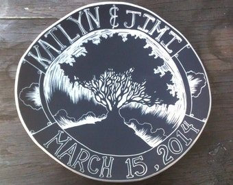 Wedding Plate - Personalized, Custom Wedding Gift - Large Ceramic Hand Carved Sgraffito
