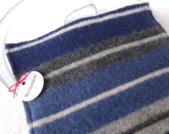 Wool Pot Holders Hot Pads BLUE & GRAY Striped Potholders Eco-Friendly Recycled Wool Hotpads by WormeWoole
