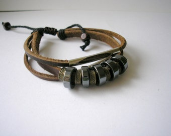 Vintage silver tone beads leather bracelet adjustable size