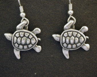 Sterling Silver Sea Turtle Earrings on Sterling Silver French Wires