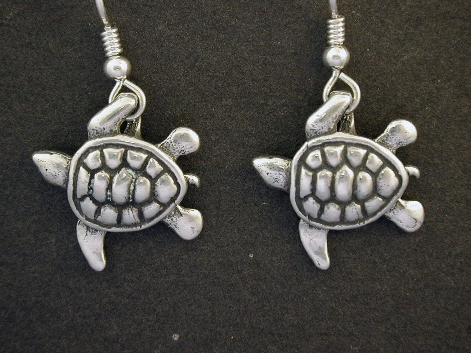 sterling silver sea turtle earrings on sterling silver