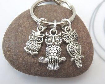 Owl  Keychain Keyring Three mini owls charms with swivel clasp