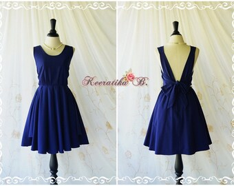 Navy dress navy party dress navy prom dress backless dress navy bridesmaid dresses navy cocktail dress bow back dress