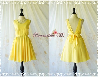 A Party V Backless Dress Prom Party Dresses Lemon Yellow Cocktail Dress Yellow Wedding Bridesmaid Dress Lemon Yellow Backless Dress XS-XL