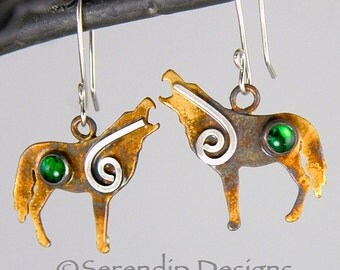 Silver Spiral Wolf Wolves Earrings with Green Paua Shell Cabochons Wolf Earrings Coyote Earrings Montana Wolves