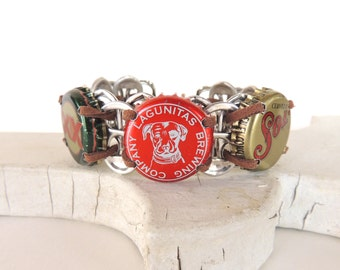 Beer Bracelet - POP TAB WRISTBAND - dog bottle cap - red, green, and gold- unisex - upcycled/eco-friendly - under 20