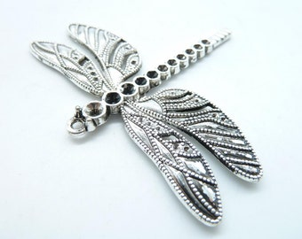 3pcs 55x63mm Antique Silver  Lovely Huge Dragonfly Charm Pendant c6767