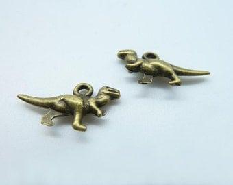 30pcs 4x12x20mm Antique Bronze Mini 3D Dinosaur Charms Pendant c834
