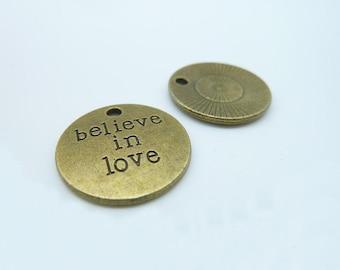 """15pcs 20mm Antique Bronze Letter """"Believe In Love"""" Charms Pendant c1885"""