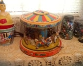 Tin Carousel Toy J. Chein Playland Merry Go Round Antique 1950's Rare Collectors Works Great