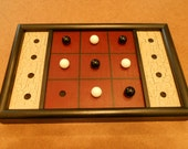 Primitive Wood Tic Tac Toe Game Board Folk Art Gameboard Glass Marbles