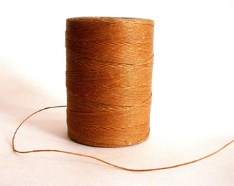 Linen Waxed Thread / 6 Ply / Right Twist / Camel Color/ 5 yds.