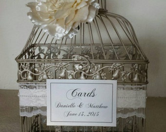 Lace and Pearls-Large Champagne Bird Cage-Wedding card holder