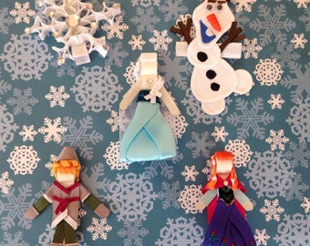 "Frozen set ""Elsa, Anna, kristoff, Olaf and one snowflake.  From Frozen movie beautiful set of 5 hair clips inspired by Disney- Birthdays, pa"