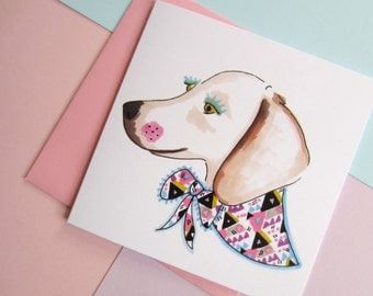 Cute Dachshund With Patterned vintage Scarf. Wiener Dog. Sausage Dog. Blank. 5.5 Inch. Square. Greetings Card