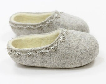 Felted Wool Slippers  in Light Gray with Natural White inside. Made to order.