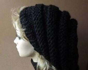 Knit Hat Women's Hat Slouch Beret Chunky Beehive Pillbox Hat Jet Black Oversized Winter Headwear