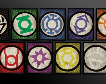 Set of 9 Green Lantern Emotional Spectrum Wall Art Decor Nursery Red Lantern Corp Sinestro Corp Comic Book Superheroes Green Lantern