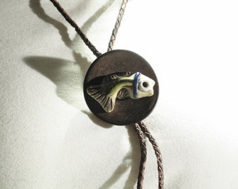 Bolo - Terrific Brighly Colored Fish Mounted on a Coconut Round Base Real Leather