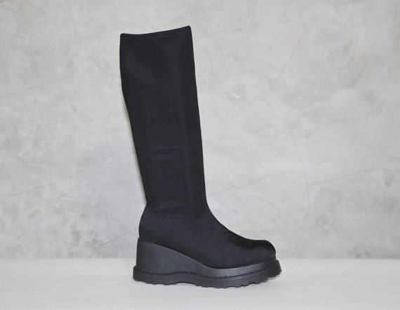 platform boots 90s black knee high tight fitted by