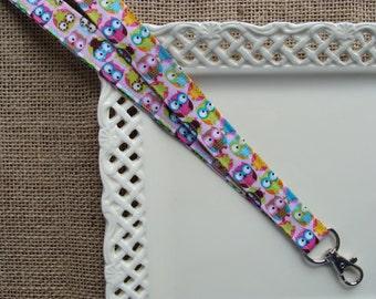 Fabric Lanyard-  Mini Hoot Owls on Pink