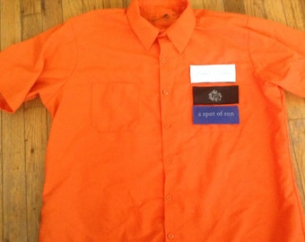 Land Cruiser mechanics shirt 40 series Velcro patch front Red Kap orange