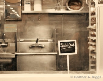 Sold Out, Sign, Kitchen, Silver, Sink, Photograph, White, Black