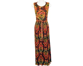 Psychedelic Dress, Exotic Bohemian Maxi Dress, Vintage 1960s by Fred Rothschild