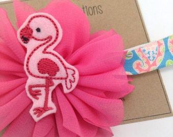 Pink Flamingo & Paisley Headband Summer Headband Pink Ballerina Flower Headband Photo Prop Feltie Newborn Headband Girls Headband