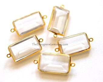 LARGE Amazing Crystal Quartz Emerald Cut Rectangle Connector with Vermeil Gold Bezel