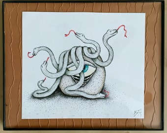 """Original Pen & Ink surreal drawing titled, """"Medusa's Seed"""""""