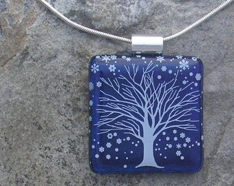 Winter Tree Pendant Dichroic Fused Glass Tree Necklace  Christmas Jewelry