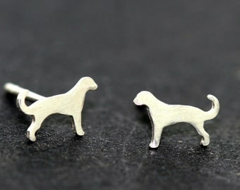 Miniature Dog Ear Studs - Sterling Silver