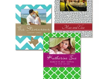 Personalized Picture Frames, Photo Frame, Custom Photo frame, 8 x 10 w/ 4 x 6 - Choose your Colors and Pattern