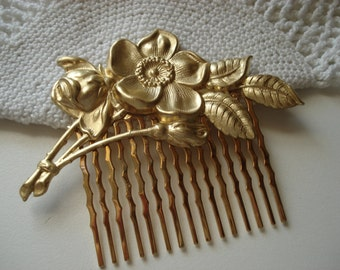 Vintage Art Nouveau Textured Gold Hair Comb Woodland Dogwood Flowers Floral Leaves