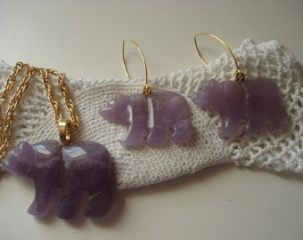 Bear Medicine Totem Purple Carved Amethyst Pendant Gold Necklace Matching Earrings Tribal Native Inspired Demi Parure